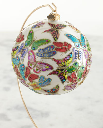 2020 Opulent Butterflies Glass Ornament