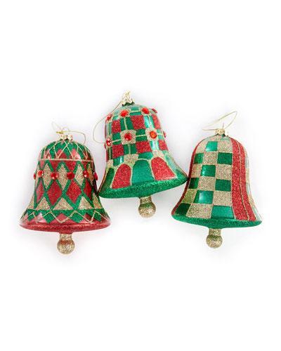 Aberdeen Glass Bell Ornaments   Set Of 3