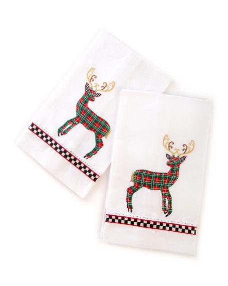 Tartan Deer Guest Towels, Set of 2