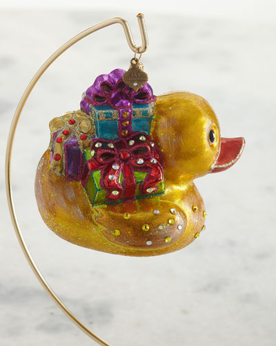 Golden Ducky Carrying Gifts Glass Ornament