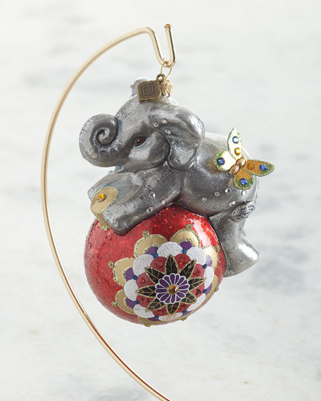 Jay Strongwater Playful Baby Elephant Glass Ornament