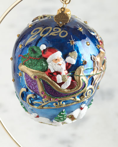 2020 Santa with Reindeer Glass Ornament