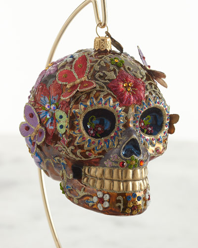 Skull with Butterflies Glass Ornament