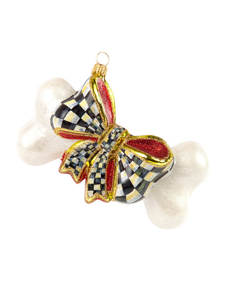 MacKenzie-Childs Glass Ornament - Bow Wow Bone