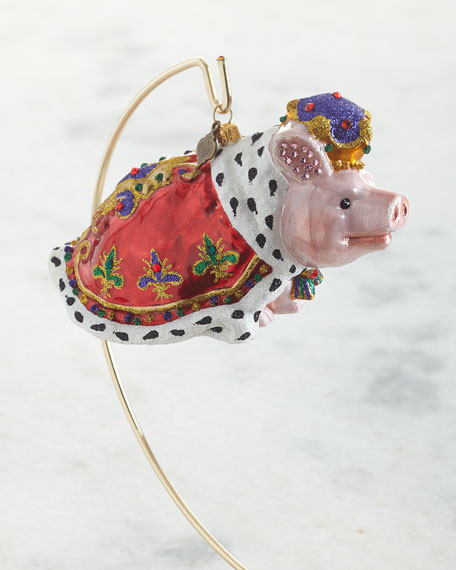 Jay Strongwater Royal Piggy Glass Ornament
