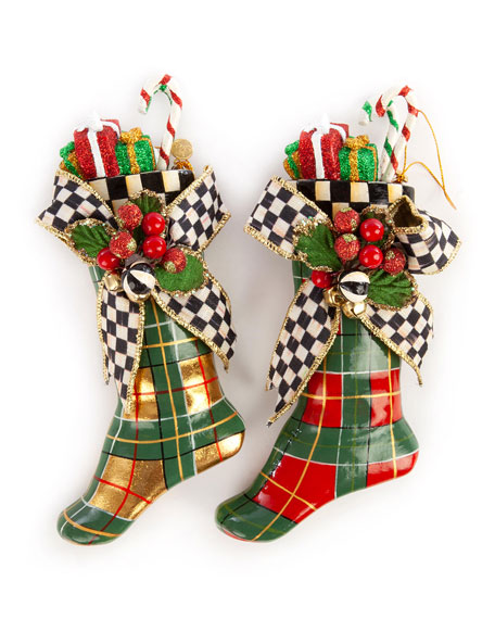 Tartan Stocking Ornaments,  Set Of 2