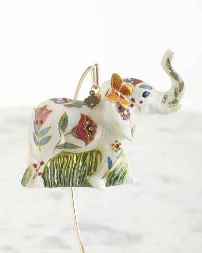 Floral Elephant Glass Ornament