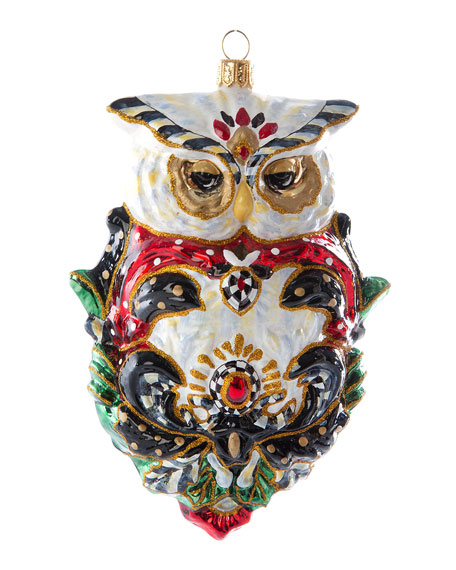MacKenzie-Childs Glass Ornament Jolly Owl