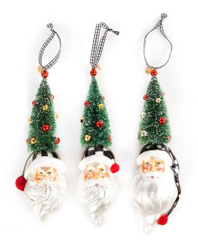 Santa Tree Ornaments   Set Of 3