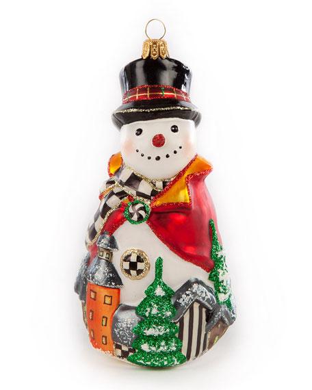 MacKenzie-Childs Glass Ornament Aurora Village Snowman