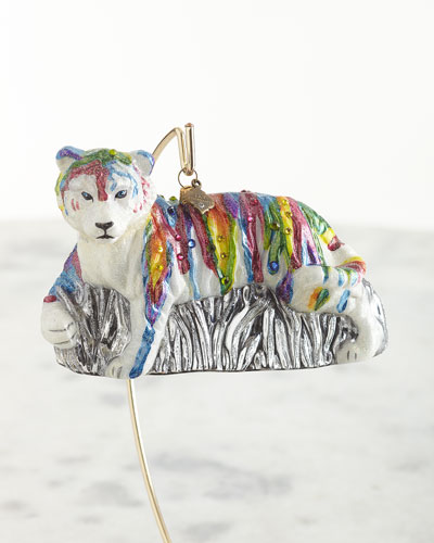 Rainbow Tiger Glass Ornament