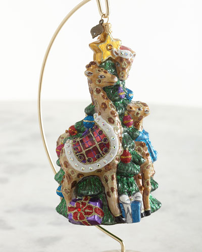 Giraffe Family Decorating Tree Glass Ornament