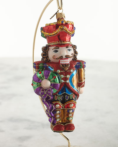 Nutcracker with Wreath Glass Ornament