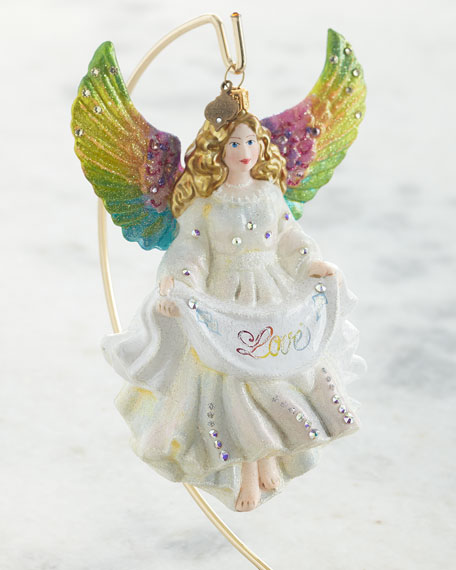 Jay Strongwater Love Angel Glass Ornament