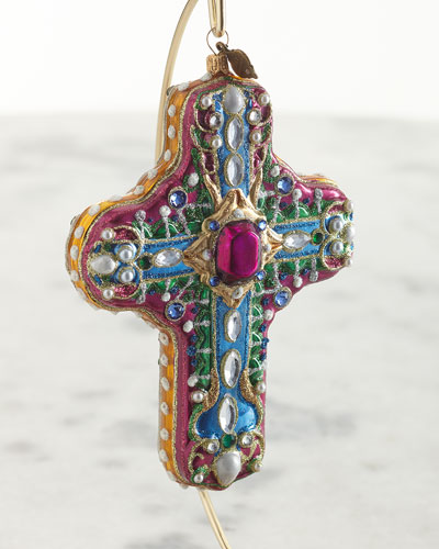 Baroque Cross Glass Ornament