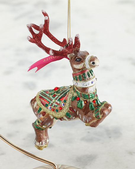 Jay Strongwater Comet Reindeer Glass Ornament