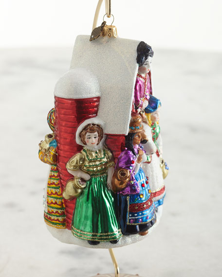 Eight Maids A-Milking Glass Ornament