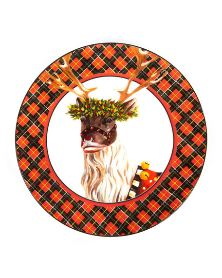 Santa's Reindeer Plates, Set Of 4