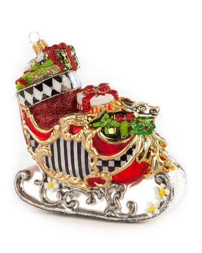 Glass Ornament - Happy Holidays Sleigh