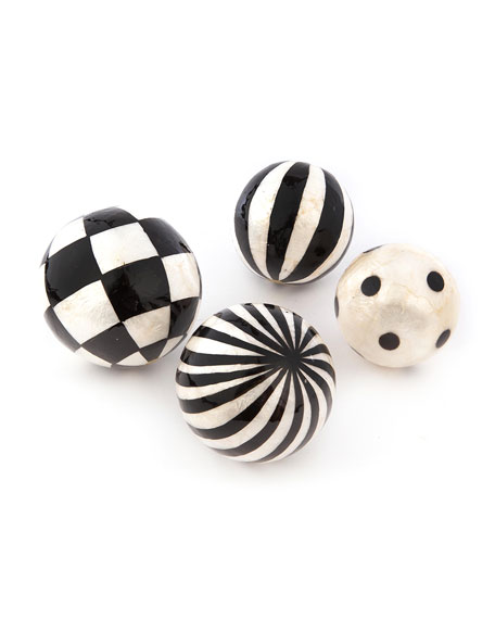 MacKenzie-Childs Black And White Capiz Balls, Set Of