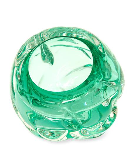 Cut Hand-Blown Glass Emerald Green Vase - Medium