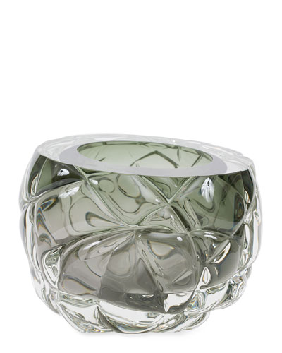 Cut Hand-Blown Glass Tourmaline Green Vase - Large