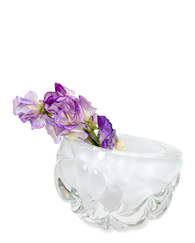 Cut Hand-Blown Glass White Vase - Medium