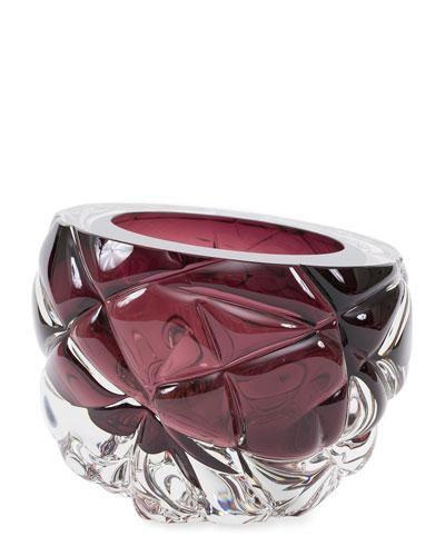 Cut Hand-Blown Glass Aubergine Vase - Large