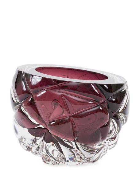 Feyz Studio Cut Hand-Blown Glass Aubergine Vase -