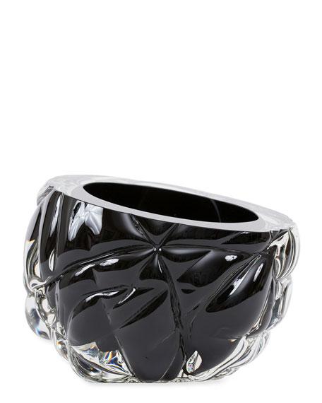 Cut Hand-Blown Glass Black Vase - Large