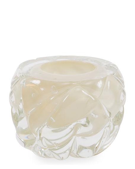 Cut Hand-Blown Glass Cream Vase - Medium