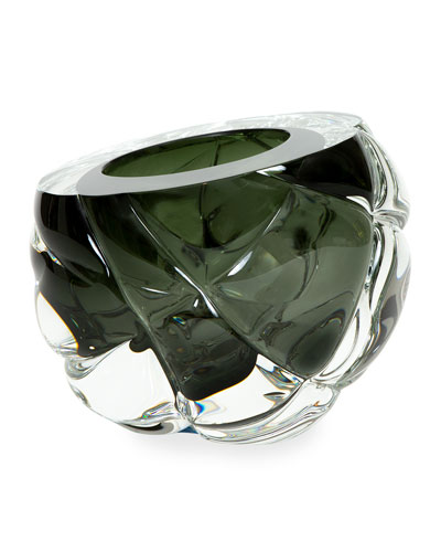 Cut Hand-Blown Glass Tourmaline Green Vase - Medium