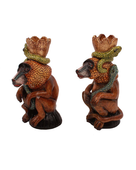 Ardmore Ceramic Art Baboon Candle Holders