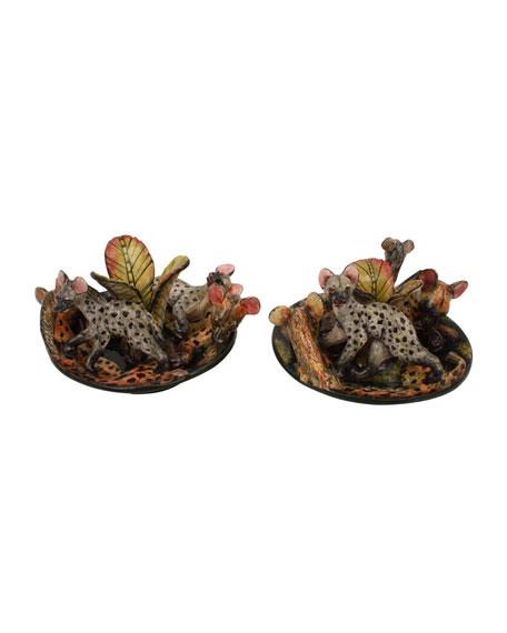 Ardmore Ceramic Art Hyena Candle Holders