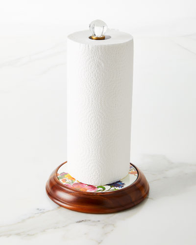 Flower Market Wood Paper Towel Holder