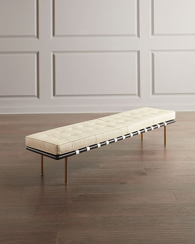 Tufted Leather Gallery Bench