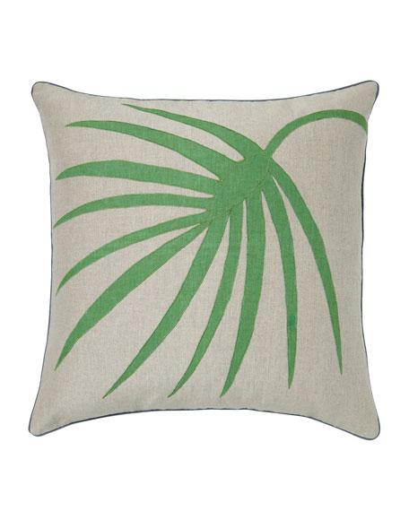 Green Palm Frond Pillow