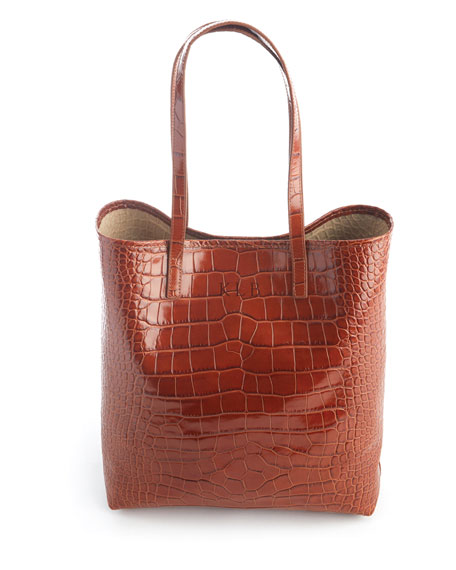 Croc-Embossed Tote Bag with Wristlet