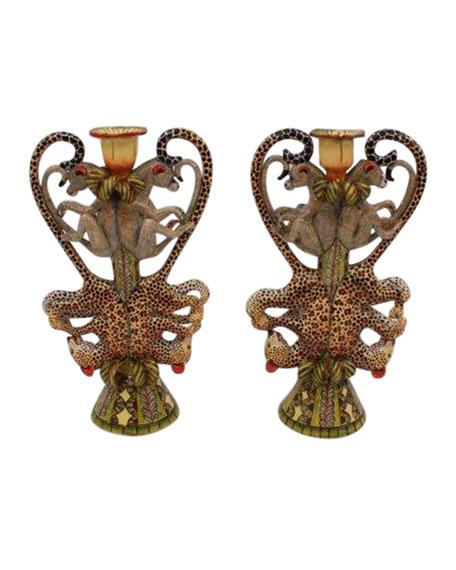 Ardmore Ceramic Art Leopard Candle Holders