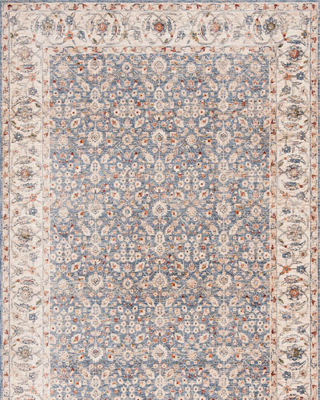 Helena Ivory/Blue Power-Loomed Rug, 9' x 12'