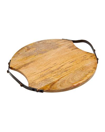 Round Wood Handled Tray