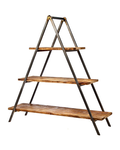 3-Tier Wood & Metal Server Stand
