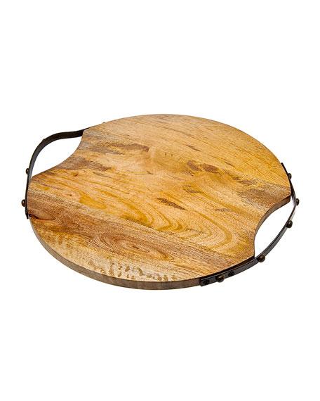 Godinger Round Wood Handled Tray Large