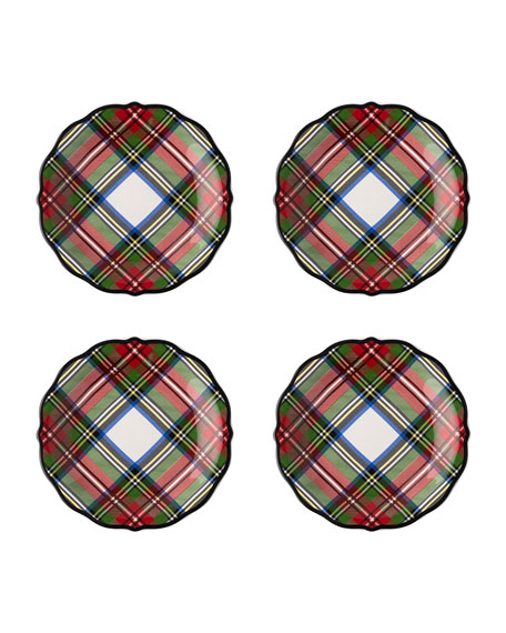 Juliska Stewart Tartan Cocktail Plates, Set of 4