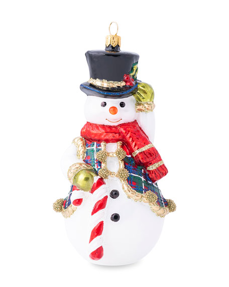 Juliska Berry & Thread Tartan Snowman Ornament