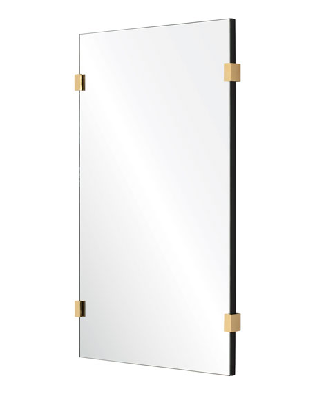 Rectangle Mirror with Burnished Brass Detail