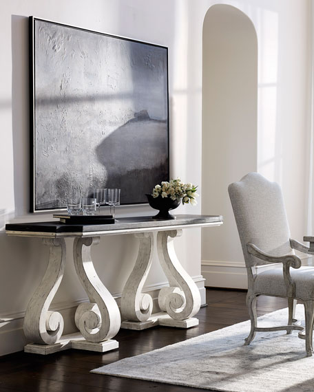 Mirabelle Scroll Pedestal Console Table