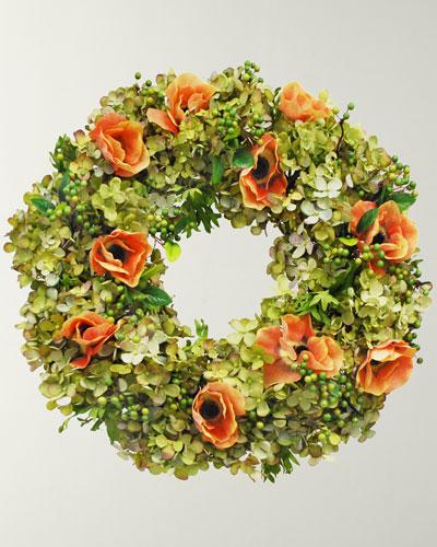 Hydrangea & Anemone Wreath