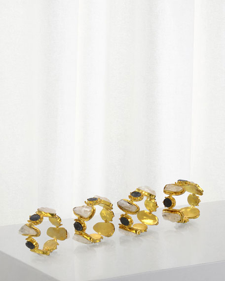 Charcoal Druzy/Quartz Napkin Rings, Set of 4
