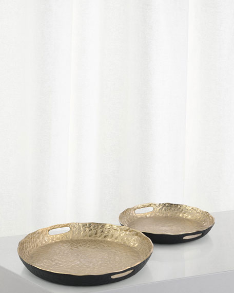 John-Richard Collection Hammered Gold & Black Trays, Set